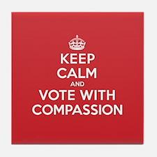 K C Vote Compassion Tile Coaster