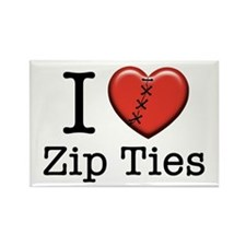 I love Zip Ties Rectangle Magnet