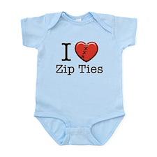 I love Zip Ties Infant Bodysuit