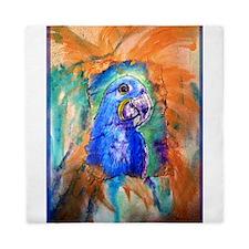 Hyacinth Macaw! Blue Parrot, art! Queen Duvet