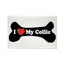 I Love My Collie - Dog Bone Rectangle Magnet