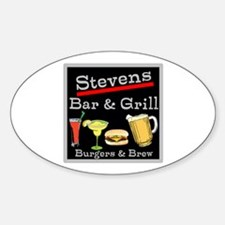 Personalized Bar and Grill Sticker (Oval)