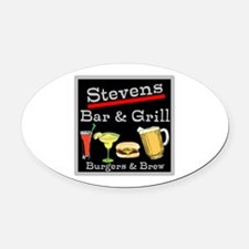 Personalized Bar and Grill Oval Car Magnet