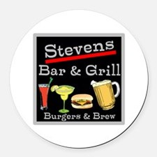 Personalized Bar and Grill Round Car Magnet