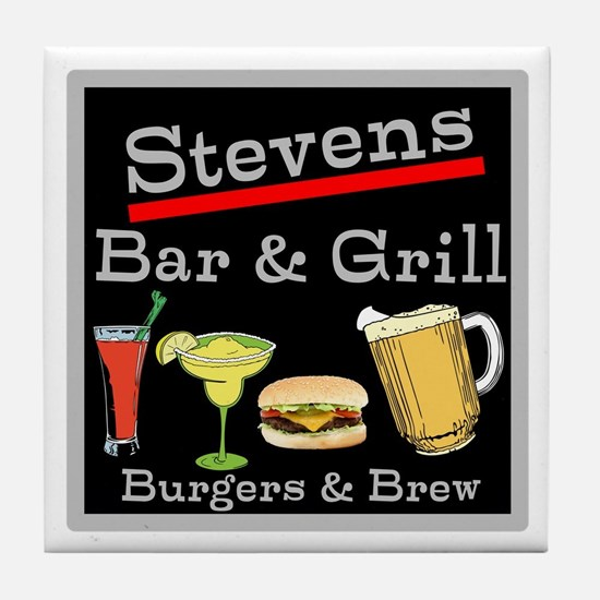 Personalized Bar and Grill Tile Coaster