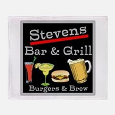 Personalized Bar and Grill Throw Blanket