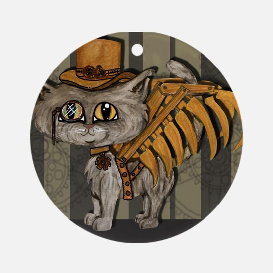 steampunk grey Mr Tipps Ornament (Round)