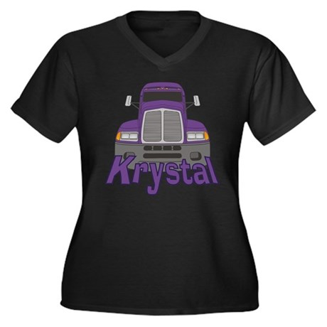 Trucker Krystal Women's Plus Size V-Neck Dark T-Sh