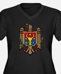 Moldova Coat Of Arms Women's Plus Size V-Neck Dark