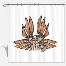 steampunk grey kitten Leather wings Shower Curtain