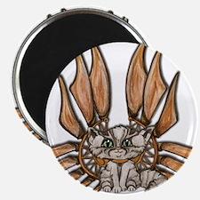 steampunk grey kitten Leather wings Magnet
