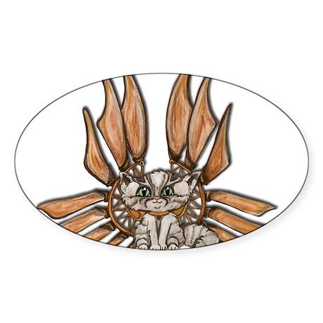 steampunk grey kitten Leather wings Sticker (Oval