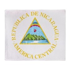 Nicaragua Coat Of Arms Throw Blanket