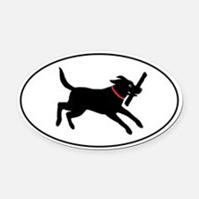 Playful Black Lab Oval Car Magnet