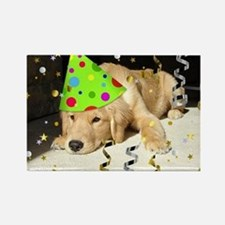 Birthday Party Golden Retriever Rectangle Magnet