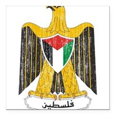 "Palestine Coat Of Arms Square Car Magnet 3"" x 3"""