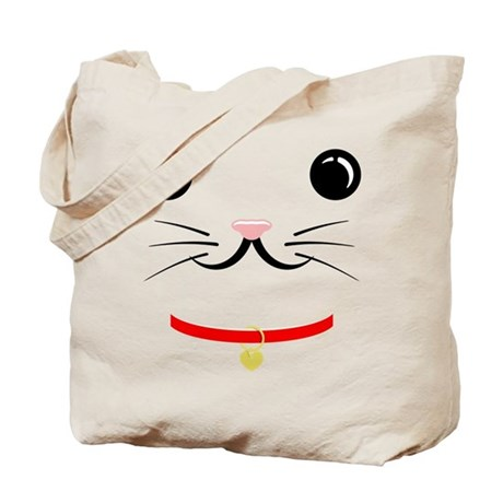 Lucky Cat Face Tote Bag