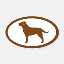 Chocolate Lab Oval Car Magnet