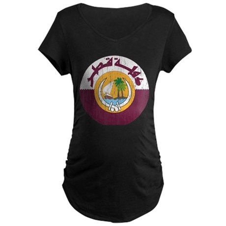 Qatar Coat Of Arms Maternity Dark T-Shirt