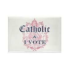 Catholic I Vote Rectangle Magnet