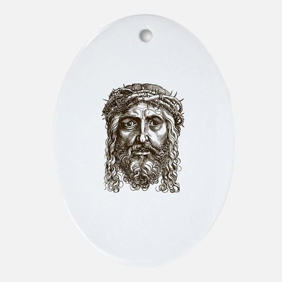 Jesus Face V1 Ornament (Oval)