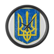 Ukraine Lesser Coat Of Arms Large Wall Clock