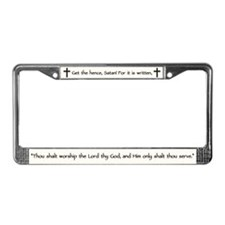 Jesus Temptation Satan License Plate Frame