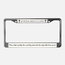 Jesus Temptation Satan License Plate Frame
