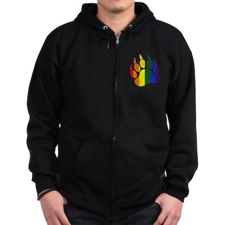 Gay Pride Paw Zip Hoodie (dark)