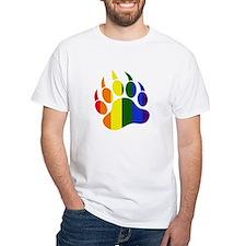 Gay Pride Paw White T-Shirt