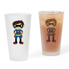 Masked Superhero Boy Drinking Glass