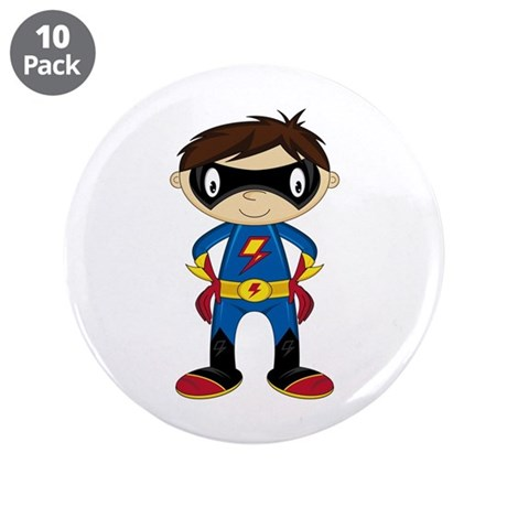 "Masked Superhero Boy 3.5"" Button (10 pack)"