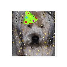 "Party Animal Wheaton Terrier Square Sticker 3"" x 3"