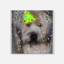"Party Animal Wheaton Terrier Square Sticker 3"" x 3"