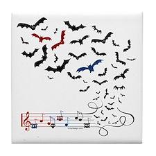 Bat Music Design Tile Coaster