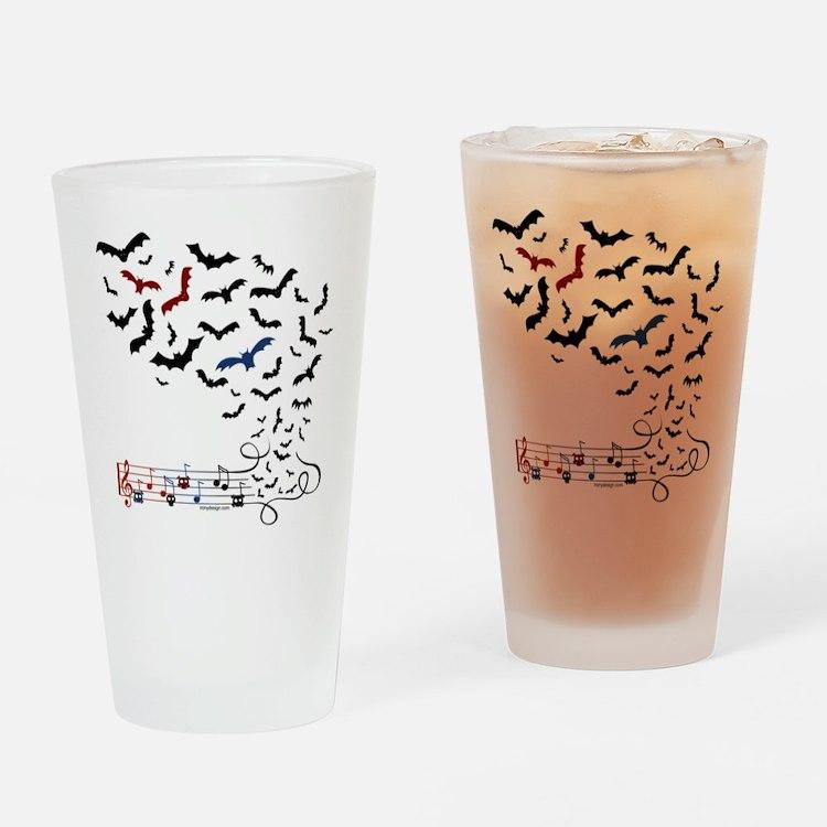 Bat Music Design Drinking Glass