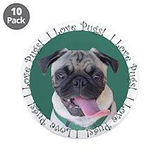 "Cute I Love Pugs 3.5"" Button (10 pack)"