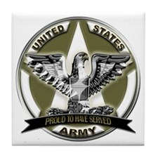 US Army Eagle Proud to Have Served Tile Coaster