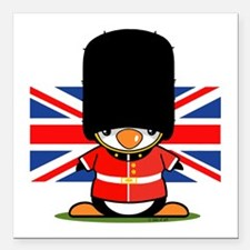 "British Soldier Penguin Square Car Magnet 3"" x 3"""