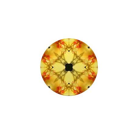 Red and Yellow Hibiscus Manda Mini Button