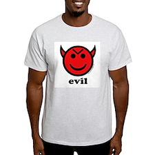 Evil Smiley Devil & Horns Ash Grey T-Shirt