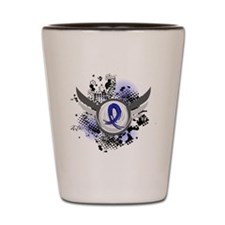 Wings and Ribbon Child Abuse Shot Glass