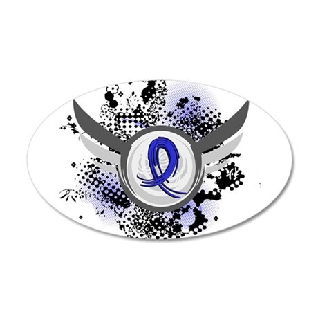 Wings and Ribbon Child Abuse 20x12 Oval Wall Decal