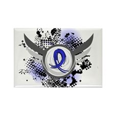 Wings and Ribbon Child Abuse Rectangle Magnet