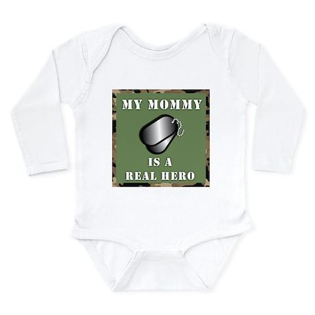 """My Mommy is a Hero"" Long Sleeve Infant Bodysuit"