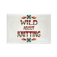 Wild About Knitting Rectangle Magnet