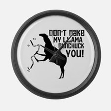 Don't Make My Llama Nunchuck Large Wall Clock