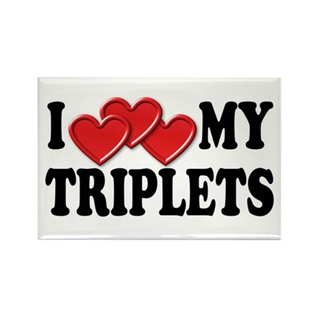 I Love Heart My Triplets Rectangle Magnet