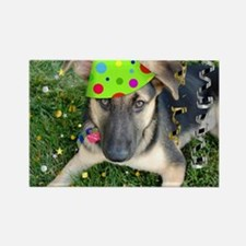 Birthday Party German Shepherd Rectangle Magnet