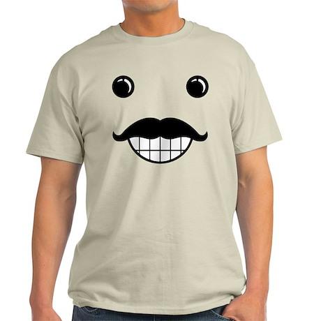 Happy Mustache Face Light T-Shirt